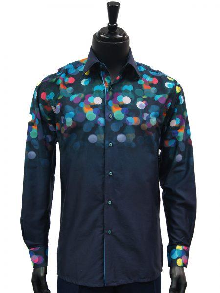 Steven Land Mens Navy Blue Rainbow Gradient Polka Dot Pattern Button Up Shirt