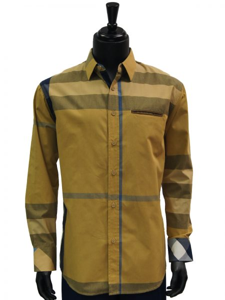 Knock Out Mens Wheat Gold Tan Multi Color Plaid Button Up Dress Casual Shirt