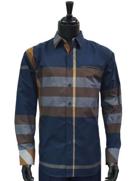 Knock Out Mens Navy Brown Multi Color Plaid Button Up Dress Casual Shirt
