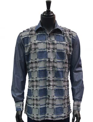 Steven Land Mens Blue Grey Denim Patch Casual Button Up Shirt