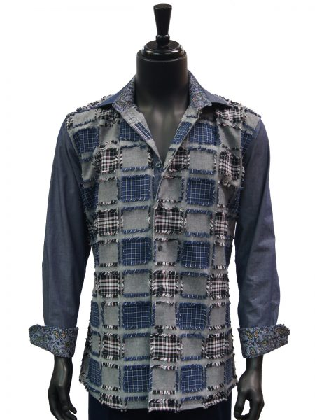 Steven Land Mens Blue Grey Denim Patch Casual Button Up Shirt