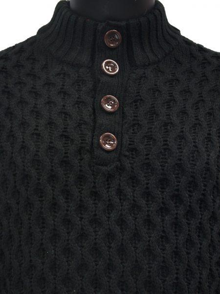 Public Denim Mens Black Knit Ultra Plush Quarter Button Up Pullover Sweater