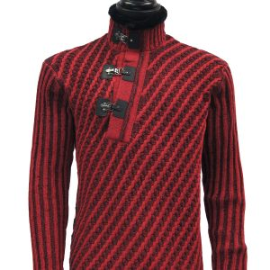 LaVane Men Red Black Cable Knit Fur Trim Buckle Collar Pullover Unique Sweater