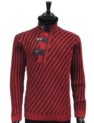 LaVane Mens Red Black Cable Knit Fur Trim Buckle Collar Pullover Sweater