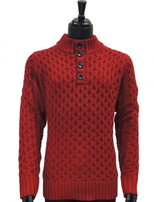 Public Denim Mens Burgundy Knit Ultra Plush Quarter Button Up Pullover Sweater