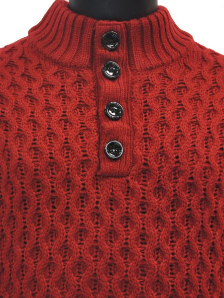Public Denim Mens Burgundy Knit Ultra Plush Quarter Button Up Pullover Sweater