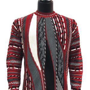 Steven Land Men Red Grey White Multi Knit Coogi Design Cotton Crew Neck Sweater