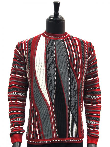 Steven Land Mens Red Grey White Coogi Design Cotton Crew Neck Sweater