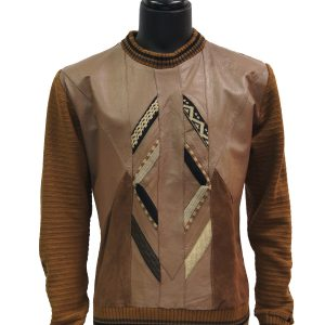 Steven Land Men Cognac Genuine Leather Suede Knit Crew Neck Luxurious Sweater