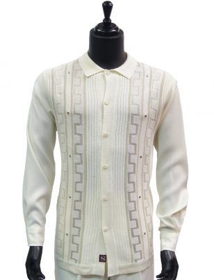 SilverSilk Mens Cream Striped Geometric Pattern Button Up Walking Suit