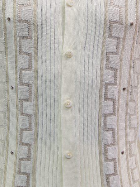 SilverSilk Mens Cream Striped Geometric Pattern Button Up Walking Suit