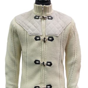 LaVane Men Cream Suede Knit ZipUp Toggle Mock Turtle Neck Cardigan Cozy Sweater