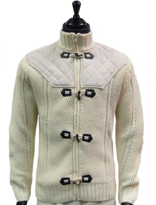 LaVane Mens Cream Suede Knit Zip Up Toggle Mock Turtle Neck Cardigan Sweater