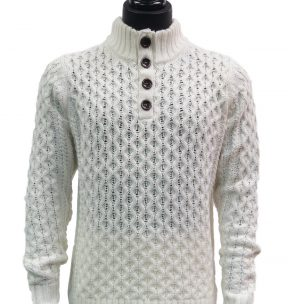 Mens Luxury Winter White Knit Plush Cozy Button Up Pullover Mock Neck Sweater