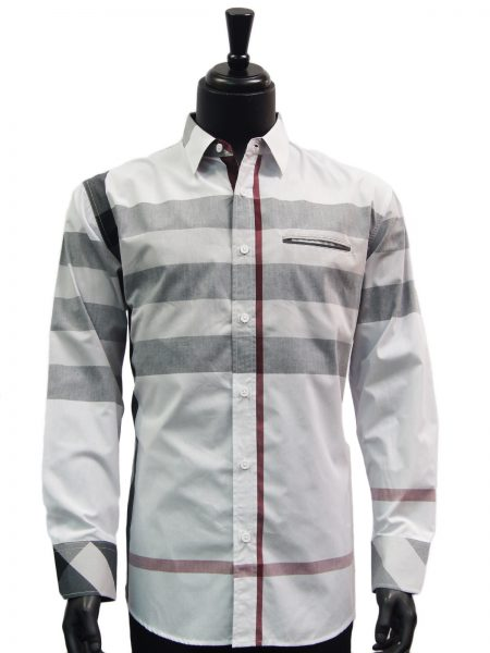 Knock Out Mens White Grey Multi Color Plaid Button Up Dress Casual Shirt