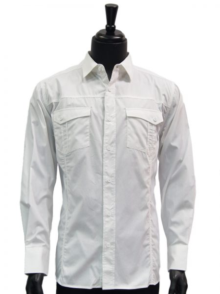 Knock Out Mens Solid White Two Pocket Cotton Button Up Casual Shirt
