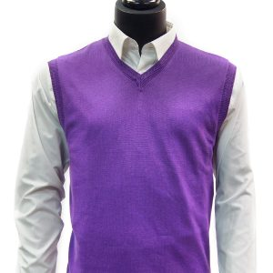 LaVane Mens Grape Purple Lightweight Cotton Blend Pullover V Neck Sweater Vest