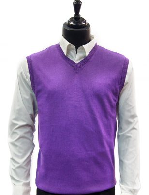 LaVane Mens Grape Purple Lightweight Cotton V Neck Sweater Vest