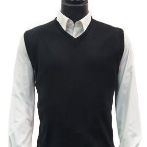 LaVane Mens Black Lightweight Cotton Blend V Neck Sweater Pullover Vest