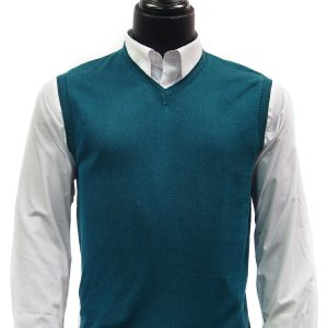 LaVane Mens Jade Green Lightweight Cotton Blend Trendy V Neck Sweater Vest