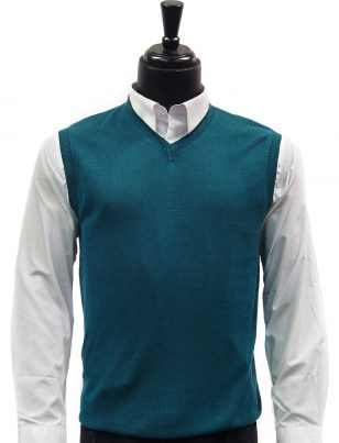 LaVane Mens Jade Green Lightweight Cotton V Neck Sweater Vest