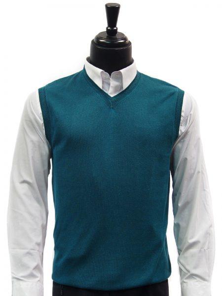 LaVane Mens Jade Green Lightweight Cotton V Neck Sweater Vest