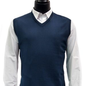 LaVane Mens Navy Blue Lightweight Cotton Blend V Neck Trendy Sweater Vest
