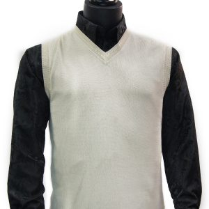 LaVane Mens Cream Winter White Light Cotton Blend V Neck Sweater Pullover Vest