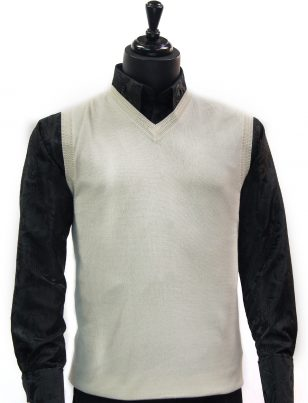 LaVane Mens Cream Lightweight Cotton V Neck Sweater Vest