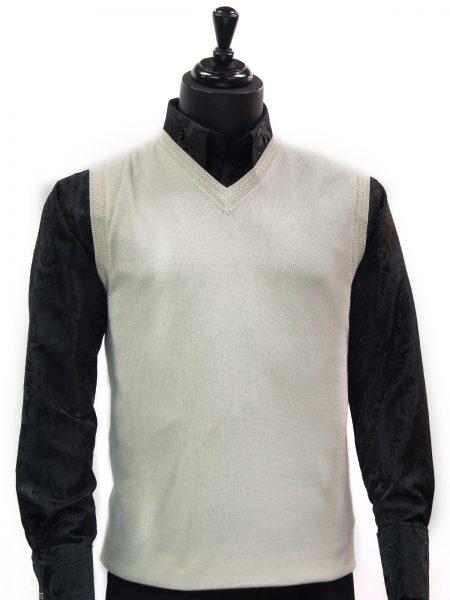 LaVane Mens Cream Lightweight Cotton V Neck Sweater Vest
