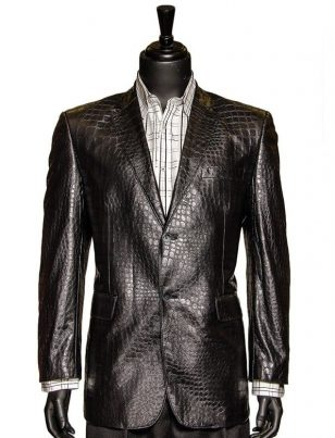 Zacchi Black Vegan Faux Leather Crocodile Pattern 2 Button Casual Blazer