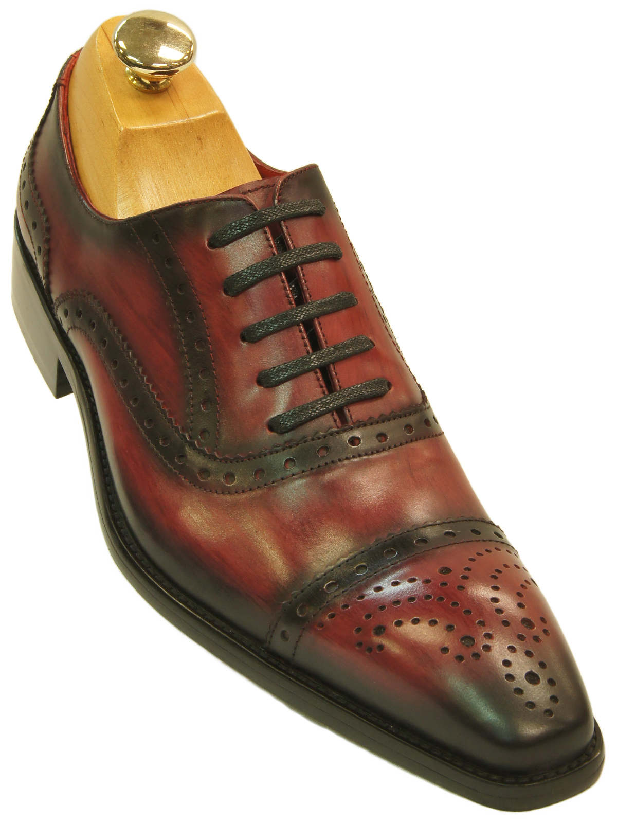 Fiesso mens red black gradient leather wing tip old school oxford fashion shoe ultimate menswear for Men gradient leather strap