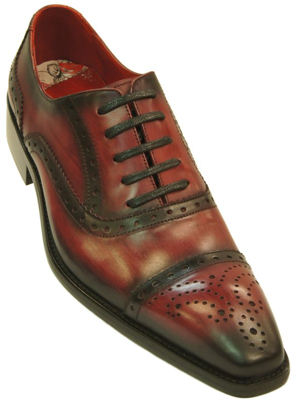 Fiesso Mens Red Black Gradient Leather Fashion Perforated Lace Up Dress Shoe