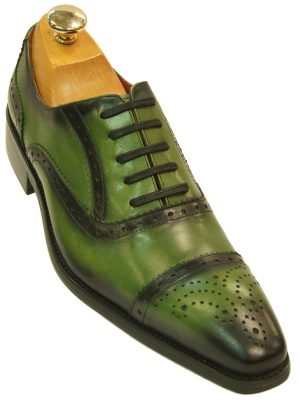 Fiesso Mens Green Black Gradient Leather Fashion Perforated Lace Up Dress Shoe