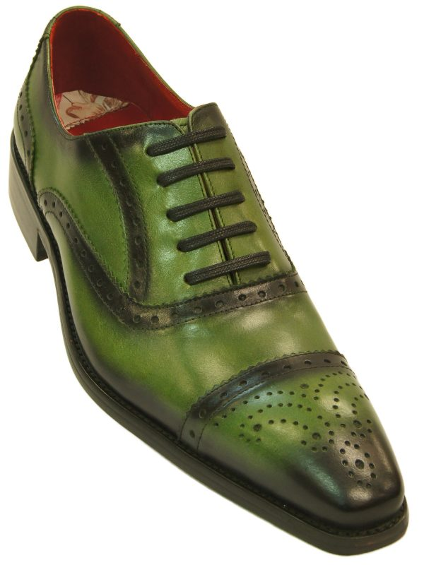 Fiesso Mens Green Black Shaded Leather Fashion Wing Tip