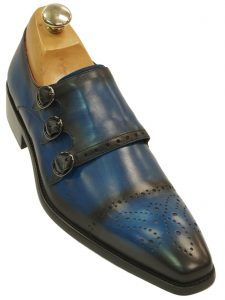 Fiesso Mens Blue Black Gradient Leather Perforated Triple Monk Strap Dress Shoe