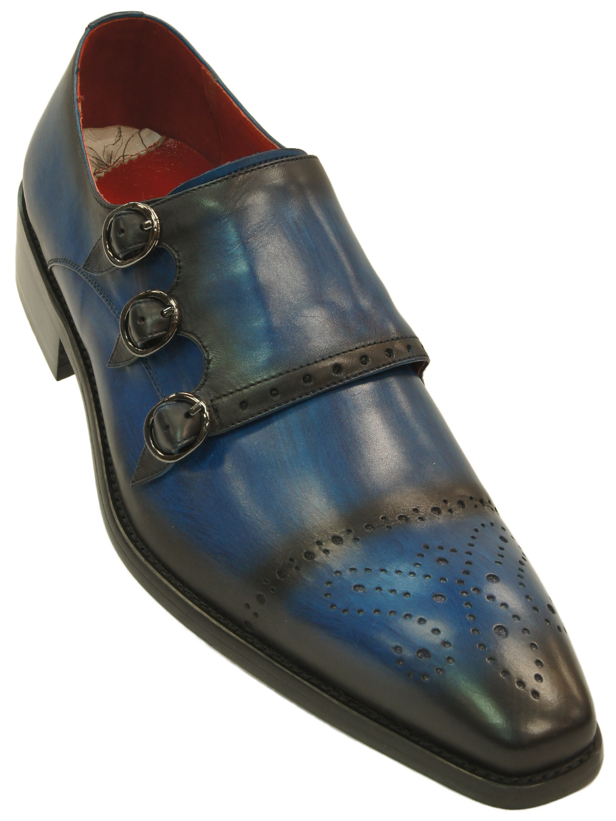 376a61924d0e8 Fiesso Mens Blue Black Gradient Leather Perforated Triple Monk Strap Dress  Shoe. Fiesso ...