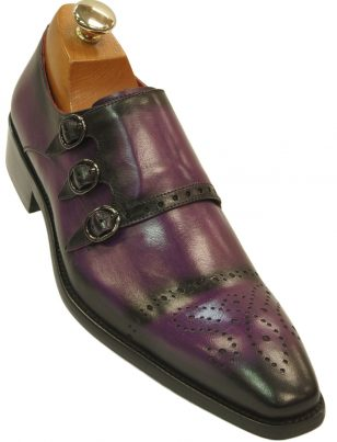 Fiesso Mens Purple Black Gradient Leather Perforated Triple Monk Strap Dress Shoe