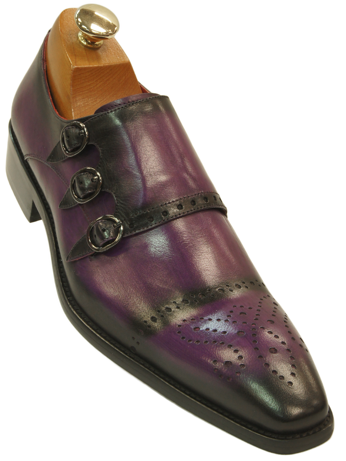 Fiesso men purple black shaded leather perforated triple monk strap dress shoe ultimate menswear for Men gradient leather strap