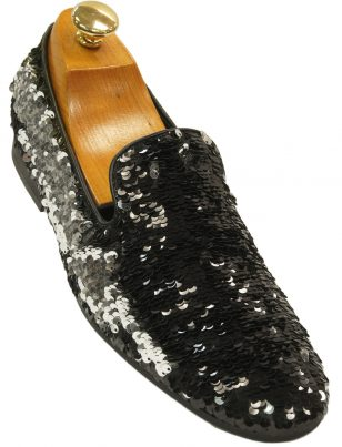Mens Giorgio Brutini Black Silver Flip Sequin Party Trendy Prom Slip On Loafer Shoe