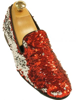 Mens Giorgio Brutini Red Silver Flip Sequin Party Trendy Prom Slip On Loafer Shoe
