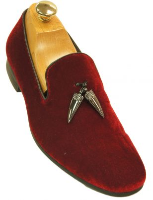 Mens Giorgio Brutini Red Velvet Spike Tassel Prom Party Slip On Loafer Shoe