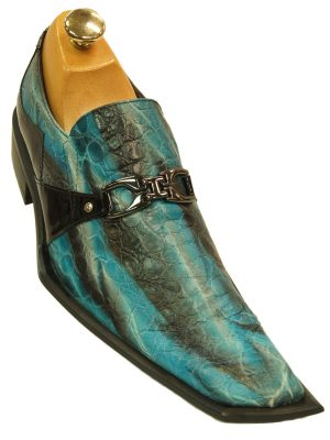 Zota Mens Blue Black Striped Textured Angular Toe Party Slip On Loafer Shoe