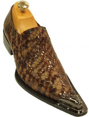 Zota Mens Brown Tan Shiny Matte Finish Metal Point Toe Fashion Slip On Loafer Shoe