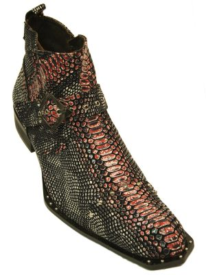 Zota Mens Pink Gray Black Snake Skin Studded Angular Toe Western Style Ankle Boot