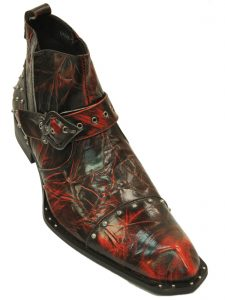 Zota Red Black Leather Mens Studded Angular Toe Western Style Fashion Ankle Boot