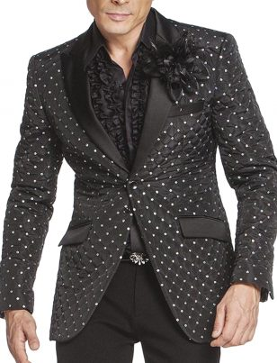 Angelino Black Silver Polka Dot Quilted Formal Prom Party Two Button Blazer