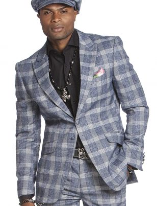 Angelino Mens Blue White Plaid Two Piece Casual Formal Professional Suit