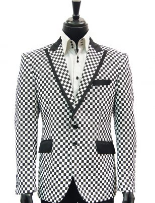 Mens Angelino Black White Checker Pattern Fun Trendy Prom Party Blazer