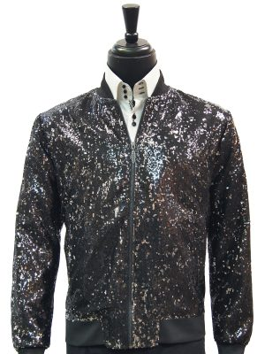 Mens Blu Martini Black Silver Shiny Sequin Trendy Bomber Zip Up Prom Jacket